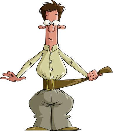 Der Mann zieht seinen Gürtel, Vektor-illustration