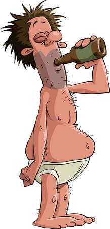 alcoholist: Alcoholische op een witte achtergrond, vectorillustratie Stock Illustratie