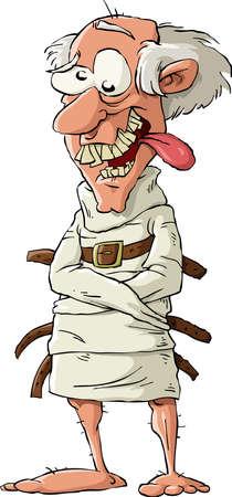 geketend: Een psychopaat in een dwangbuis, vector illustratie