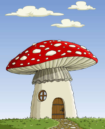 Great house mushroom Amanita muscaria Vector