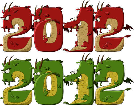 New 2012 dragon on a white background Vector