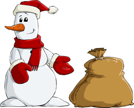 snowman isolated: Snowman with a bag of gifts Illustration