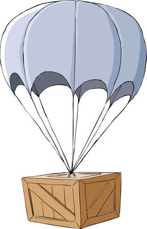 transportation cartoon: Wooden box with a parachute