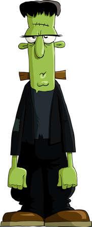 zombie cartoon: Frankensteins monster on a white background, vector