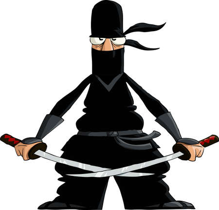 dangerous weapons: Ninja on a white background