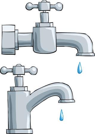 llave de agua: Grifo sobre un fondo blanco, ilustración vectorial