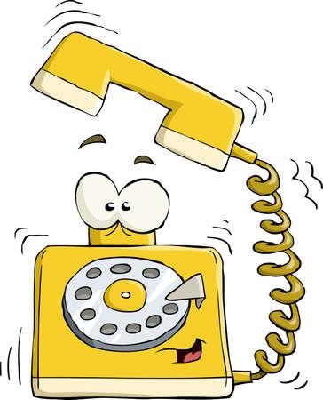 telefono caricatura: Teléfono en una ilustración vectorial de fondo blanco,