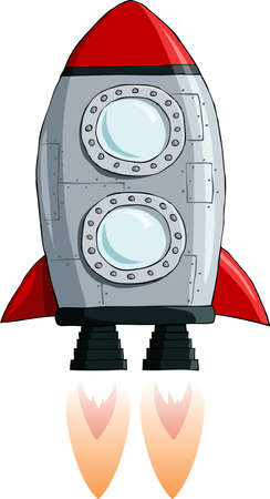 spacecraft: Rocket on a white background, vector illustration Illustration