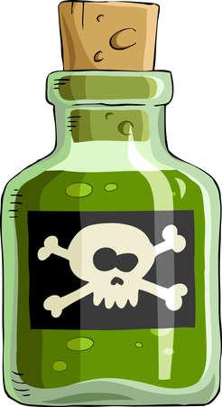 veneno frasco: Botella de veneno sobre un fondo blanco, vector Vectores
