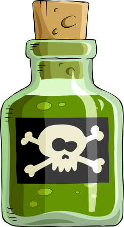 kill: Bottle of poison on a white background, vector