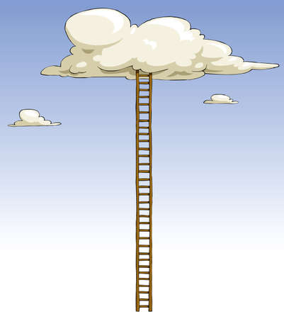 ascent: Cartoon ladder to the clouds, vector illustration Illustration