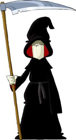 ocultismo: Reaper sobre un fondo blanco, ilustraci�n vectorial