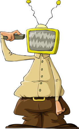 telly: A man with a TV head, vector Illustration
