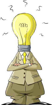 Cartoon light bulb head man, vector illustration Stock Vector - 10825968