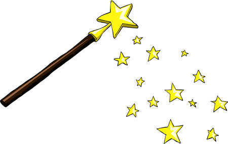Cartoon magic wand with stars, vector illustration