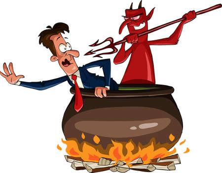 satanas: Caldero infernal con el Diablo, ilustración vectorial