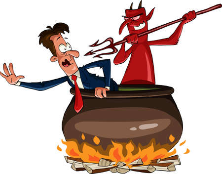 hell: Infernal cauldron with the devil, vector illustration Illustration