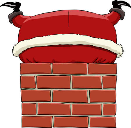 Santa Claus stuck in chimney, vector illustration Vector