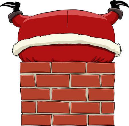 Santa Claus stuck in chimney, vector illustration