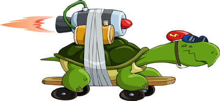 reactive: Turtle with a jet engine, vector illustration