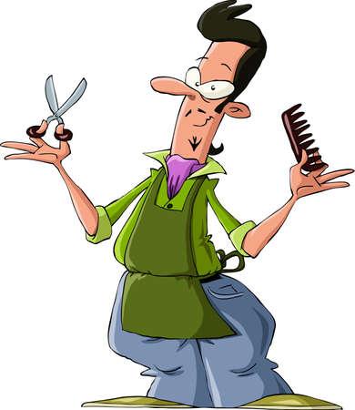 парикмахер: Парикмахерская на белом фоне Иллюстрация
