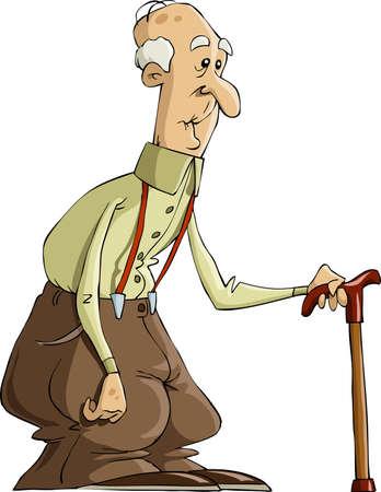 De oude man op een witte achtergrond