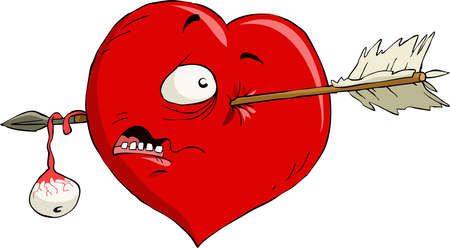 wounded heart: Cartoon heart with an arrow