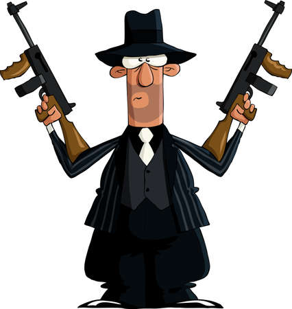 cartoon gangster: Italian on a white background, vector illustration