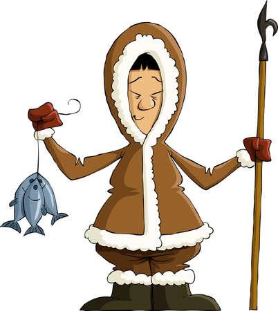 Eskimo on a white background, vector illustration Stock Vector - 11004643