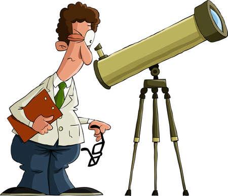 観察: 白の背景、ベクトル イラストの天文学者