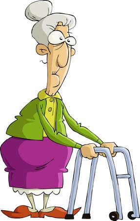 De oude vrouw op een witte achtergrond, vector illustratie