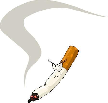smoldering: Cigarette on a white background, vector illustration