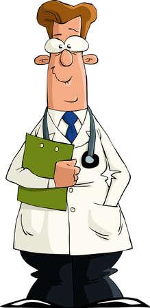 medico caricatura: Un m�dico sobre un fondo blanco, ilustraci�n de vectores