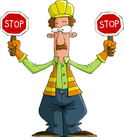 vest in isolated: Road worker on a white background, vector illustration