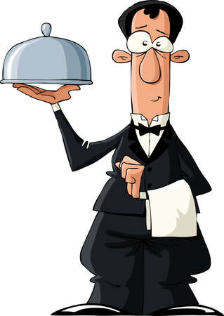 fun at work: The waiter on a white background, vector illustration