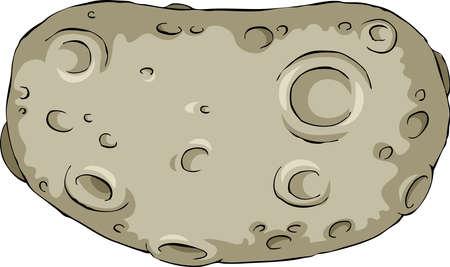 El asteroide en una ilustración vectorial de fondo blanco,