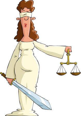 dama de la justicia: Justicia en el fondo blanco, ilustración vectorial
