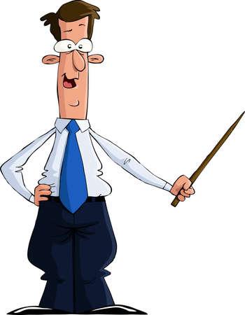 教師: 一個男人與一個指針,矢量插圖 向量圖像