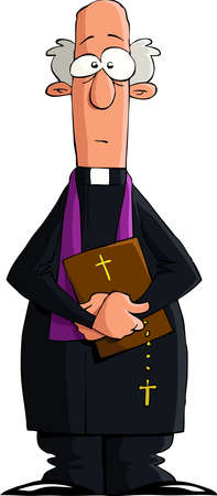 preacher: Catholic priest on a white background, vector Illustration
