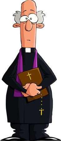 pr�tre: Pr�tre catholique sur un fond blanc, vecteur Illustration