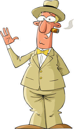 cigar: The man in yellow suit, vector illustration Illustration