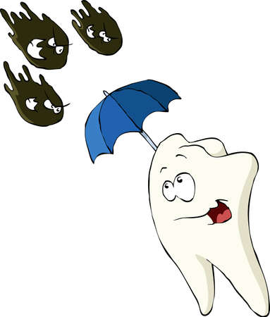 cavities: Tooth on a white background, vector illustration