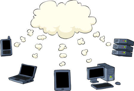 storage device: Cloud computing is on a white background, vector