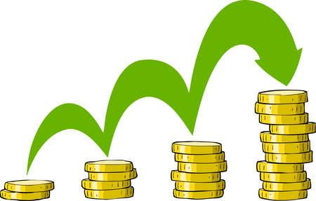 stack of cash: Monedas en una ilustraci�n vectorial de fondo blanco, Vectores