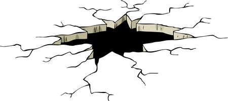 землетрясение: Отверстие на белом фоне, векторные иллюстрации Иллюстрация