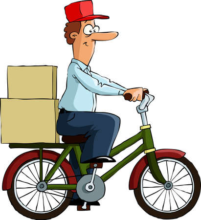 курьер: Велосипедист на белом фоне, векторные иллюстрации