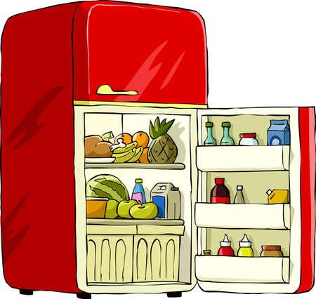 nevera: Refrigerador en una ilustraci�n vectorial de fondo blanco, Vectores