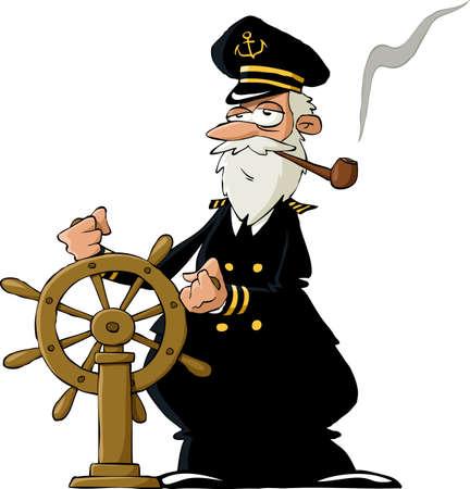 Kapitein op een witte achtergrond, vector illustratie Vector Illustratie