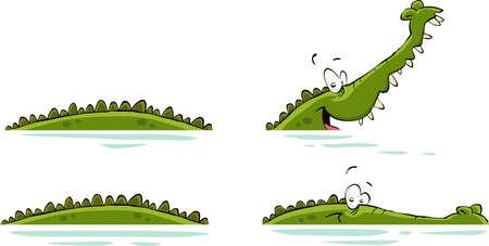 creeps: Cocodrilo en una ilustraci�n vectorial de fondo blanco, Vectores
