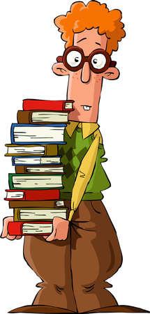 estereotipo: Nerd con una pila de libros, ilustraci�n vectorial Vectores